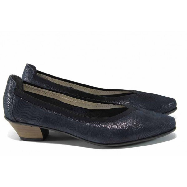 Дамски обувки от естествена кожа Rieker 58061-14 син ANTISTRESS | Немски обувки на среден ток | MES.BG