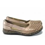 Ортопедични дамски пантофи от естествена кожа Rieker 46387-31 розов ANTISTRESS | Равни немски обувки | MES.BG
