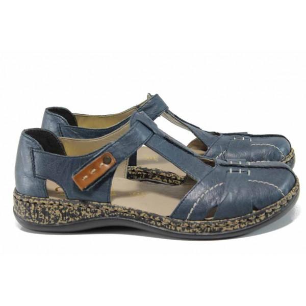 Дамски пантофи от естествена кожа Rieker 46380-14 т.син ANTISTRESS   Равни немски обувки   MES.BG