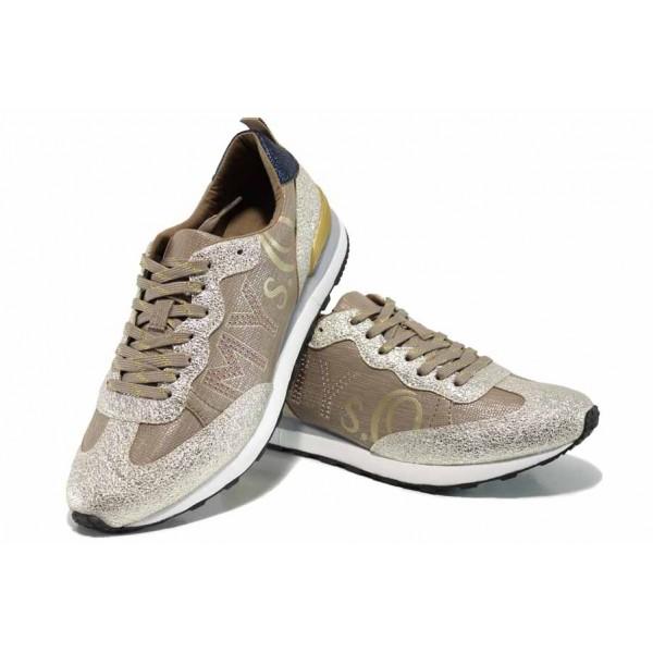 """Дамски спортни обувки с """"мемори"""" пяна S.Oliver 5-23606-20 шампанско   Немски равни обувки   MES.BG"""