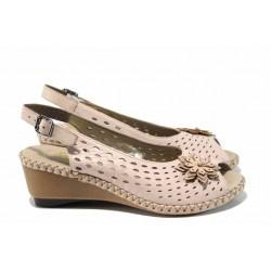 Дамски сандали от естествена кожа Rieker 66177-31 розов ANTISTRESS | Немски сандали на ток | MES.BG