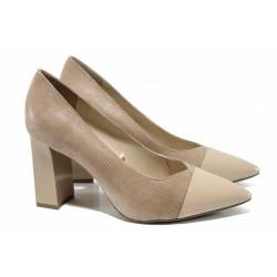 Елегантни дамски обувки от естествена кожа Caprice 9-22405-20 бежов | Немски обувки на висок ток | MES.BG