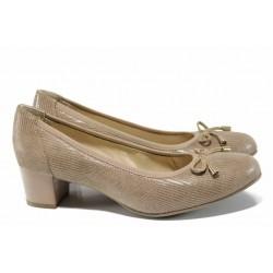 Анатомични дамски обувки от естествена кожа Caprice 9-22308-20 бежов | Немски обувки на ток | MES.BG