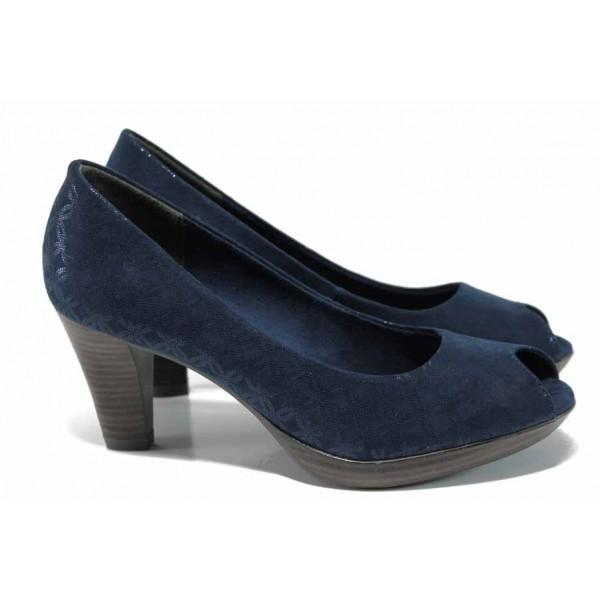 Елегантни дамски обувки Marco Tozzi 2-29302-20 син металик   Немски обувки на ток   MES.BG