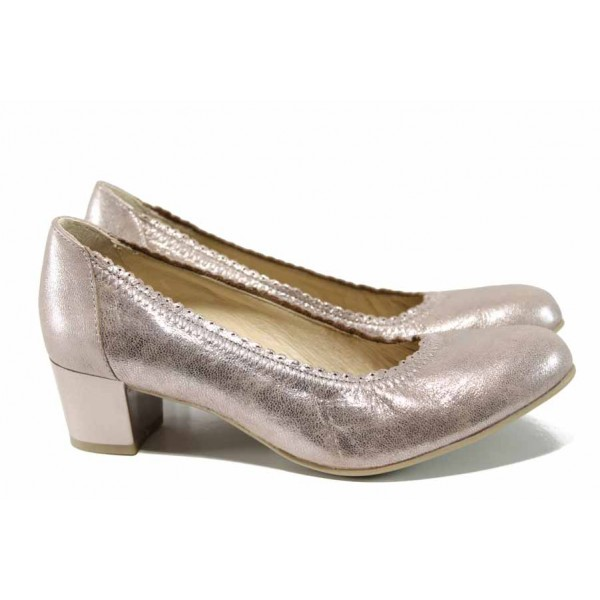 Анатомични дамски обувки от естествена кожа Caprice 9-22310-20 розов металик | Немски обувки на ток | MES.BG