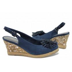 Дамски сандали на платформа Marco Tozzi 2-29608-20 син | Немски сандали на ток | MES.BG