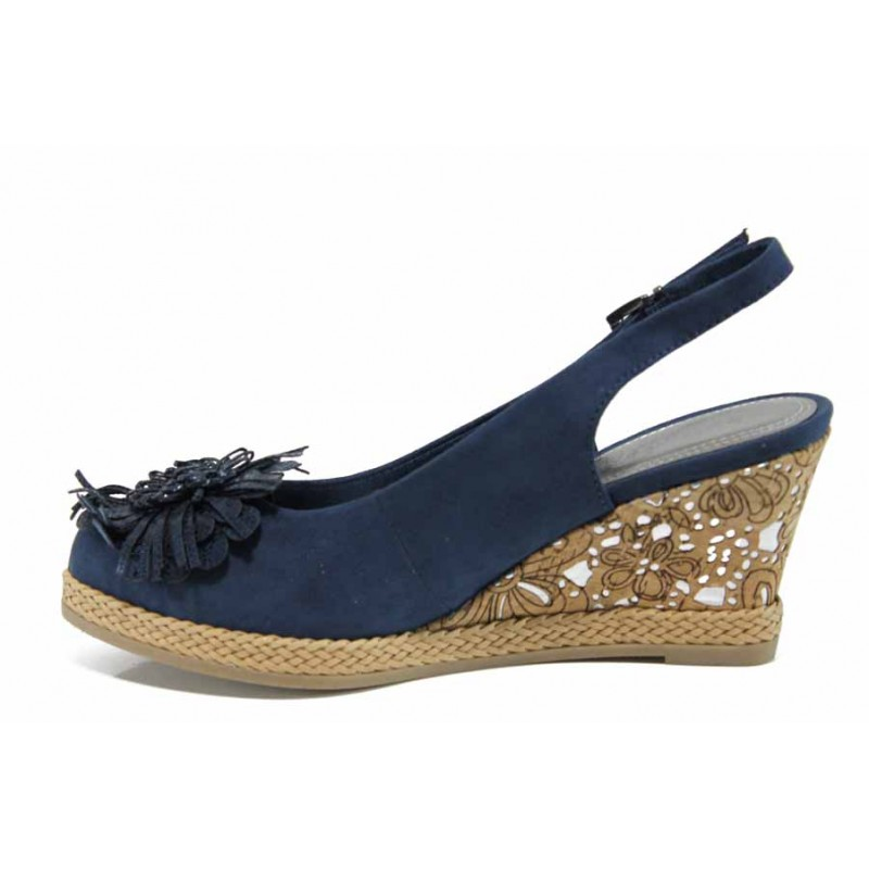 033707b5656 Дамски сандали на платформа Marco Tozzi 2-29608-20 син | Немски сандали на  ток ...