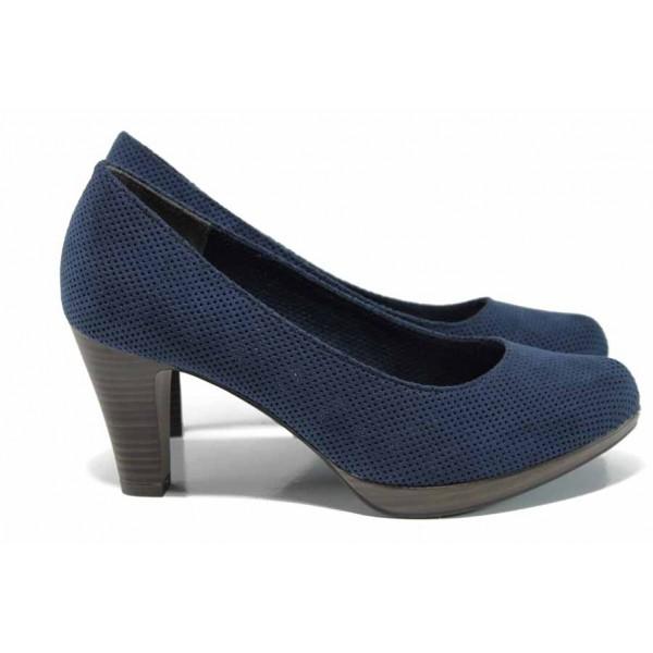 Дамски обувки с перфорация Marco Tozzi 2-22445-30 син | Немски обувки на ток | MES.BG