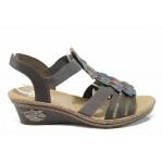 Дамски сандали на платформа Rieker V2426-45 сив ANTISTRESS | Немски сандали на ток | MES.BG