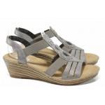 Дамски сандали на платформа Rieker 62459-40 сив ANTISTRESS | Немски сандали на ток | MES.BG