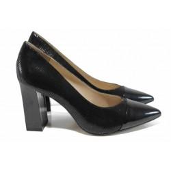 Елегантни дамски обувки от естествена кожа Caprice 9-22405-20 черен змия | Немски обувки на висок ток | MES.BG
