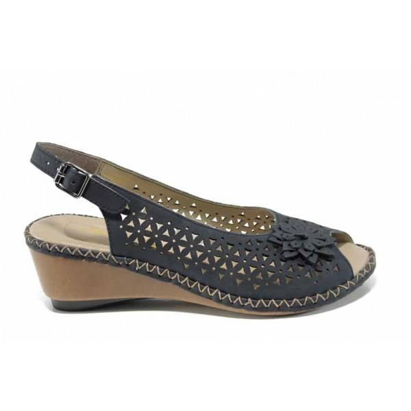 Дамски сандали от естествена кожа Rieker 66156-14 син ANTISTRESS | Немски сандали на платформа | MES.BG