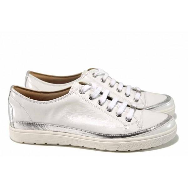 Анатомични дамски обувки от естествена кожа Caprice 9-23654-20 бял | Немски равни обувки | MES.BG