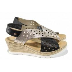 Дамски сандали от естествена кожа Rieker 61946-00 черен-злато ANTISTRESS | Немски сандали на платформа | MES.BG