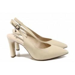Елегантни дамски сандали от естествена кожа Caprice 9-29603-20 бежов | Немски обувки на висок ток | MES.BG