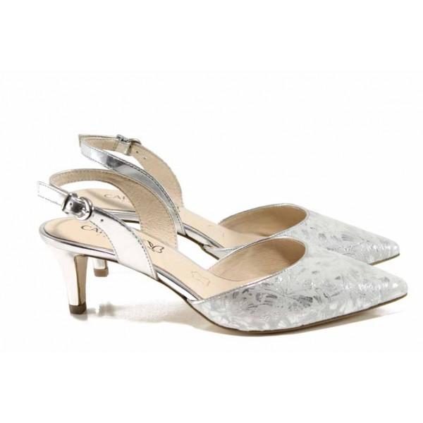 Елегантни дамски сандали от естествена кожа Caprice 9-29609-20 сребро | Немски обувки на среден ток | MES.BG