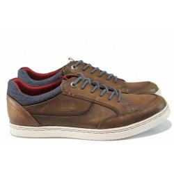 Мъжки спортни обувки от естествена кожа S.Oliver 5-13629-20 кафяв | Мъжки немски обувки | MES.BG