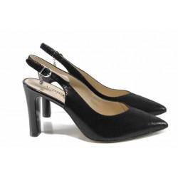 Елегантни дамски сандали от естествена кожа Caprice 9-29603-20 черен | Немски обувки на висок ток | MES.BG
