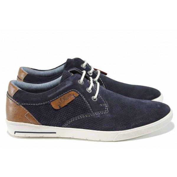 Мъжки обувки от естествен набук S.Oliver 5-13605-20 т.син   Мъжки немски обувки   MES.BG