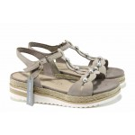Дамски сандали от естествена кожа с мемори пяна Marco Tozzi 2-28636-20 таупе | Немски равни сандали | MES.BG