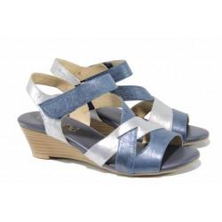 Дамски сандали от естествена кожа Caprice 9-28214-20 син-сребро | Немски сандали на платформа | MES.BG