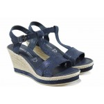 Дамски сандали от естествена кожа Marco Tozzi 2-28340-20 син | Немски сандали на платформа | MES.BG