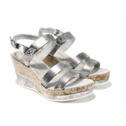 Дамски сандали на комфортно ходило Marco Tozzi 2-28357-20 сребро | Немски сандали на платформа | MES.BG