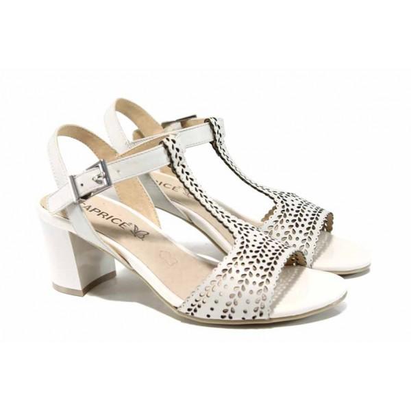 Дамски сандали от естествена кожа Caprice 9-28301-20 бял   Немски сандали на среден ток   MES.BG