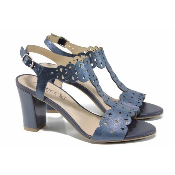 Елегантни дамски сандали от естествена кожа Caprice 9-28312-20 син | Немски сандали на висок ток | MES.BG