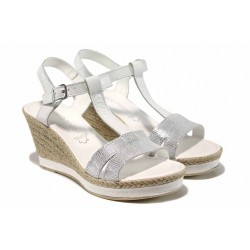 Дамски сандали от естествена кожа Marco Tozzi 2-28340-20 бял | Немски сандали на платформа | MES.BG