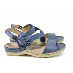 Дамски ортопедични сандали от естествена кожа Caprice 9-28106-20 син | Немски равни сандали | MES.BG