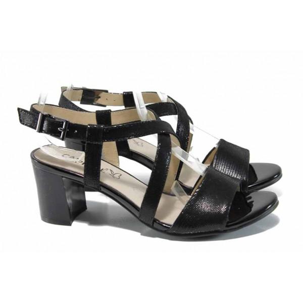 Дамски сандали от естествена кожа Caprice 9-28300-20 черен | Немски сандали на среден ток | MES.BG