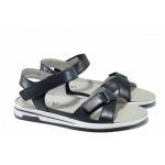 Дамски ортопедични сандали от естествена кожа Caprice 9-28610-20 т.син | Немски равни сандали | MES.BG