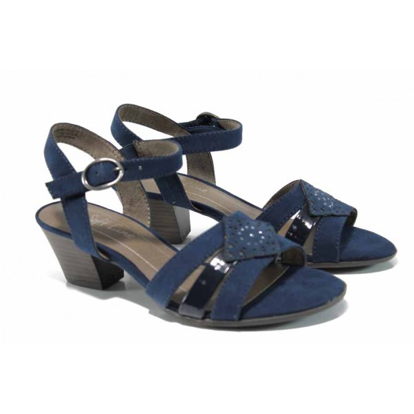 Дамски сандали на еластично ходило Jana 8-28361-20 син | Немски сандали на ток | MES.BG