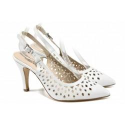 Елегантни дамски сандали от естествена кожа Caprice 9-29612-20 бял | Немски сандали на ток | MES.BG