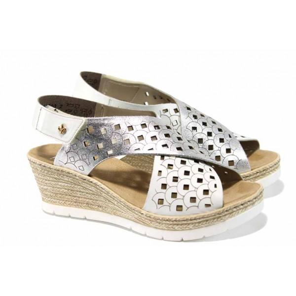 Дамски сандали от естествена кожа Rieker 61946-80 бял-сребро ANTISTRESS | Немски сандали на платформа | MES.BG