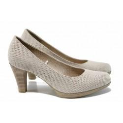 Дамски обувки с перфорация Marco Tozzi 2-22445-30 бежов | Немски обувки на ток | MES.BG