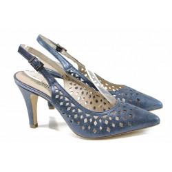 Елегантни дамски сандали от естествена кожа Caprice 9-29612-20 син | Немски сандали на ток | MES.BG