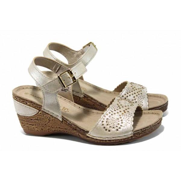 Дамски сандали на еластично ходило Marco Tozzi 2-28509-20 бежов | Немски сандали на платформа | MES.BG
