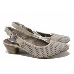Дамски обувки от естествен набук за Н крак Jana 8-29502-20 таупе | Немски обувки на ток | MES.BG
