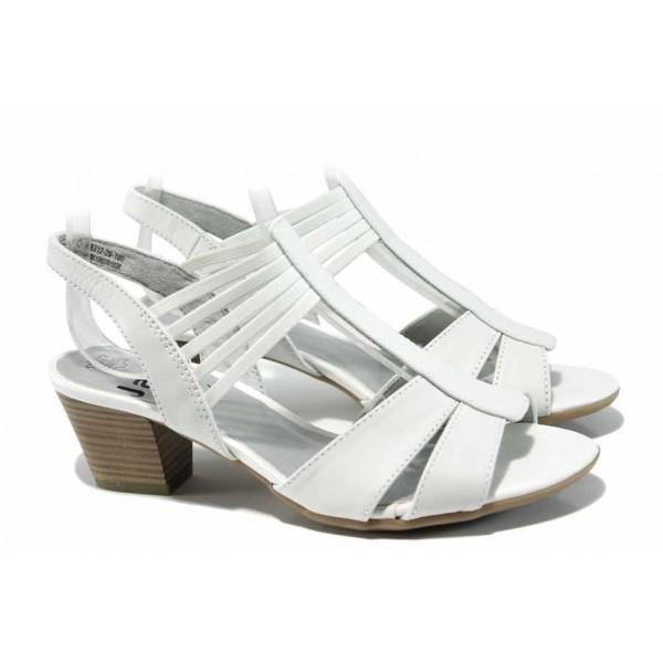 Дамски сандали от естествена кожа за Н крак Jana 8-28312-20 бял | Немски сандали на ток | MES.BG