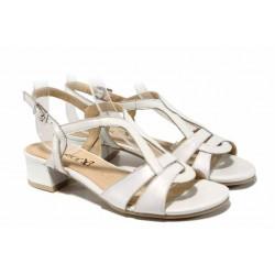 Дамски сандали от естествена кожа Caprice 9-28201-20G бял | Немски сандали на ток | MES.BG