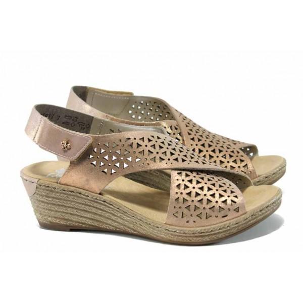 Дамски сандали от естествена кожа Rieker 62484-31 розов ANTISTRESS | Немски сандали на платформа | MES.BG