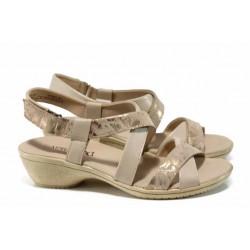 Дамски сандали от естествена кожа на еластично ходило Caprice 9-28707-20G бежов-злато | Немски сандали на ток | MES.BG