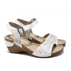 Дамски сандали на еластично ходило Marco Tozzi 2-28509-20 бял | Немски сандали на платформа | MES.BG
