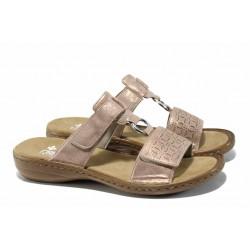 Анатомични дамски чехли с велкро лепенки Rieker 60818-90 розов-злато ANTISTRESS | Немски дамски чехли | MES.BG