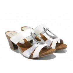 Елегантни дамски чехли от естествена кожа Caprice 9-27210-20 бял-сребро | Немски чехли на ток | MES.BG