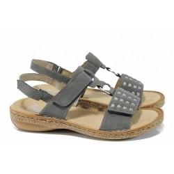 Дамски сандали с велкро лепенки Rieker 62883-42 сив ANTISTRESS | Немски равни сандали | MES.BG