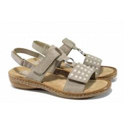 Дамски сандали с велкро лепенки Rieker 62883-45 сив ANTISTRESS | Немски равни сандали | MES.BG