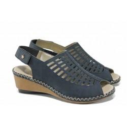 Дамски сандали от естествена кожа Rieker 66157-14 син ANTISTRESS | Немски сандали на платформа | MES.BG
